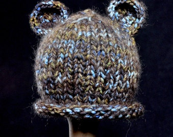 Knit Blue and Brown Bear Hat