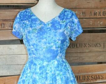 1950s Vintage Chiffon Party Dress - Blue Floral Chiffon - Rockabilly - Classic - Bombshell - Pin Up - Flirty Girly - Full Skirt - 38 Bust