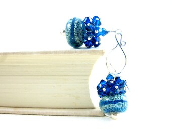 Blue Crystal Cluster Earrings, Glass Jewelry, Azure Blue Ivory Earrings, Boro Lampwork Earrings, Contemporary Modern Cluster   Blue Clouds