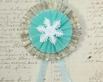 Vintage Text Icy Teal Snowflake and Mica Snow Ornament