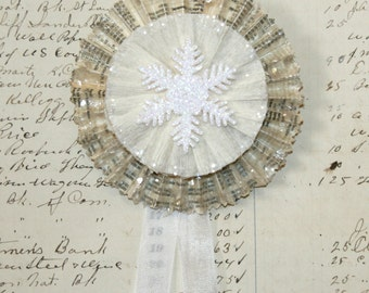 Vintage Text Cream and White Snowflake and Mica Snow Ornament