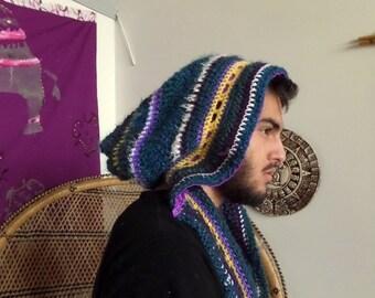 Psychdelic crochet festival hood / scoodie SALE