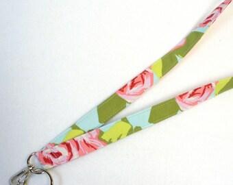 Fabric Lanyard ID Badge Holder Breakaway Lanyard Amy Butler Love Fabric ID Clip Key Ring Fob Tumble Roses Pink Blue
