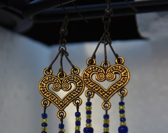 30% OFF-- Gold heart and blue beads earrings on SALE