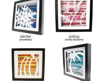 four different seasons & designs in shadowboxes made from recycled magazines,colorful, winter, spring, summer, fall