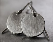 Cute, everday, simple and sporty fine silver disc earrings