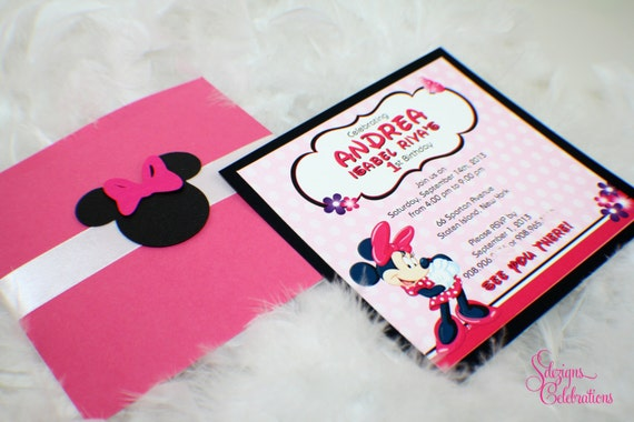 Cute Minnie Mouse Birthday Invitations Pink Black Minnie Mouse