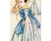 1950's Vintage Evening Gown Wedding Dress Sewing Pattern Size 14 Ball Gown