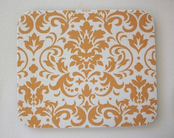mousepad / Mouse Pad / Mat round or rectangle - Gold and White Damask - dorm desk office home decor accessories
