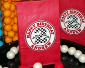 Custom Race Car Goody Bags w/Sticker Seals Included. Checkered Flags Number Birthday Bags Race Car Party Favor Bags. Set of 10. Choose Size