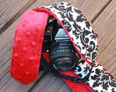 Ready To Ship No Monogram Extra Long Camera Strap for DSL camera White and Black Damask with Red Minky Reverse