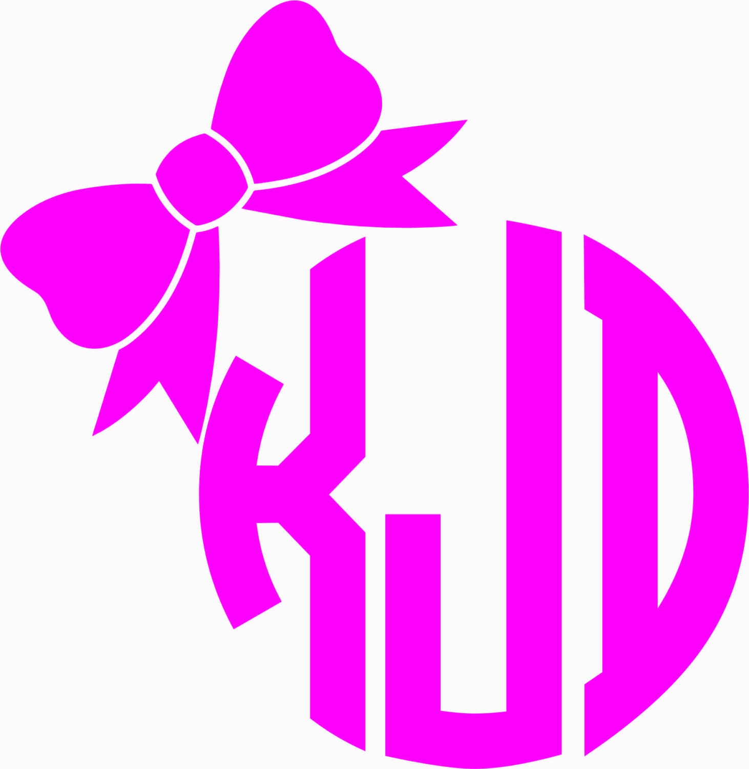Circle Monogram With Bow Decal M 018