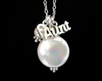 Sterling Silver Aunt Necklace with Coin Pearl