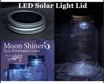 Solar Powered LED Mason Jar Lid Moon Shiners Sun Powered Lid 2 for 14.95