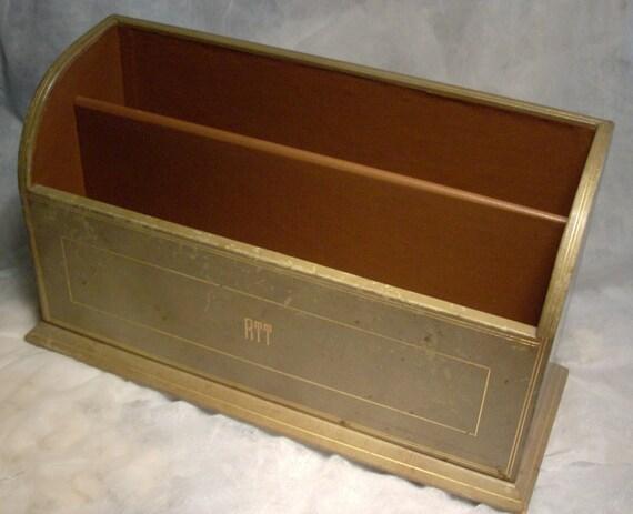 Vintage leather holder desk accessory letter holder rack gold for Vintage letter holder desk