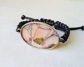 Magnolia flower hand painted watercolor illustration adjustable leather bracelet