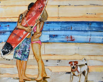 "Beach couple, dog, ""Eye Witness"", Fine Art Print, All sizes"