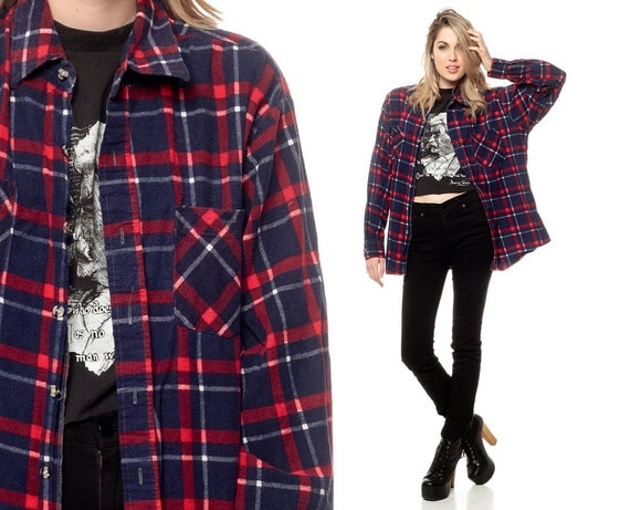 Plaid flannel shirt 90s grunge checkered button up by for Navy blue and red flannel shirt