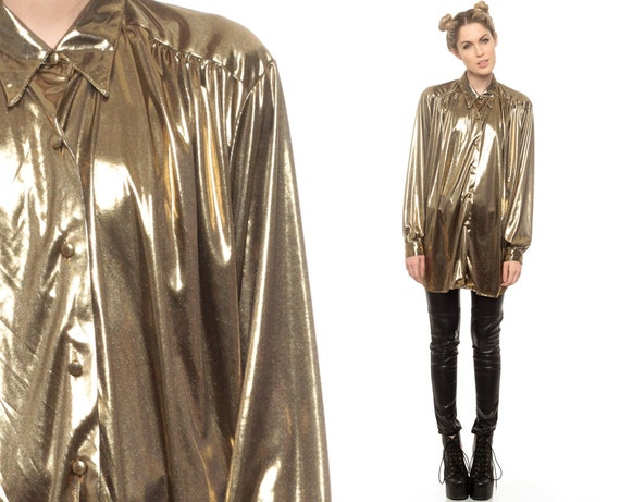 Gold Blouse Liquid Metallic Button Up Shirt 80s Long Tunic