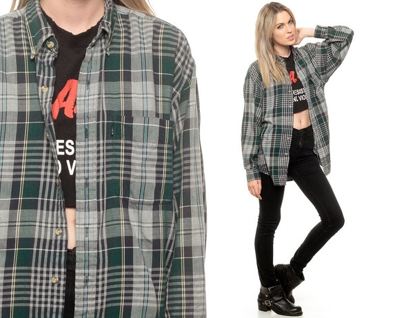 Green flannel shirt 90s grunge plaid button up black grey for Green and black plaid flannel shirt