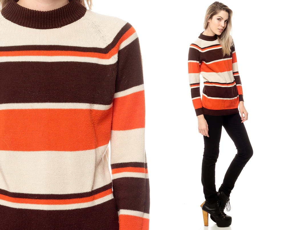 70s Striped Sweater Top 1970s Stripe 80s Retro Vintage Brown