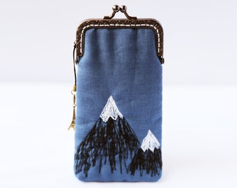 iPhone Case/Glasses Case -- the Peaks -- mountain Free Motion Embroidery ( iPhone 6s, iPhone 6s Plus, Samsung Galaxy S7 etc. )