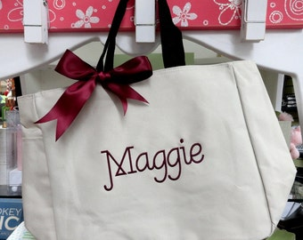 Personalized Bridesmaids Gift Totes, Monogrammed Bridesmaid Tote Bag for Wedding Party