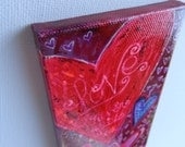 Mini Original Abstract on Canvas 6x3in Love never fails  Beautiful Colors Handpainted Original Heather Montgomery Art