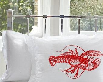 Nautical Red Lobster Unique Art Pillowcase friendly sailor shell house sail Pillow case tail crab cancer ocean sea decor beach room bedroom