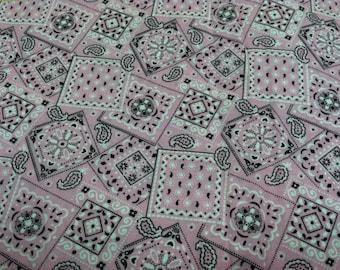 Bandana print fabric light pink