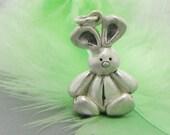 Bunny charm, kawaii bunny charm, rabbit charm, sterling silver bunny charm, removable charm