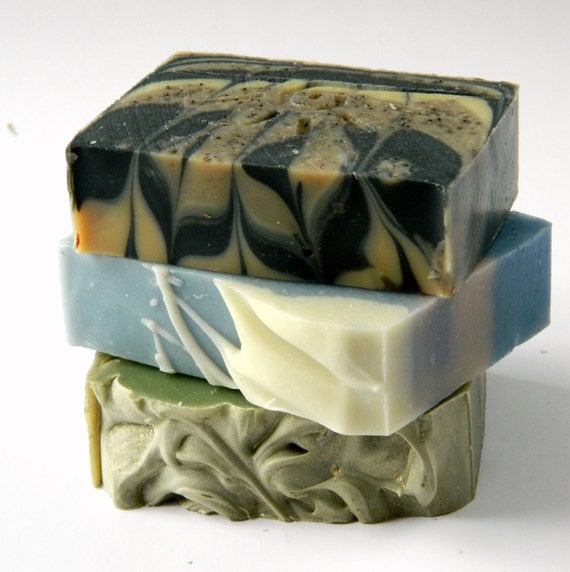 3 Assorted Bars Soap Sampler / Gift Set - Cold Process Olive Oil Soap/  Handmade Soaps for Sale