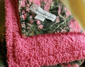 Pink Camo True Timber MC2 Pink Suede Blanket and Fuchsia Pink Cuddle Fleece