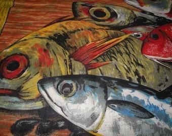 Indanthren Fish Print Original Filmdruck Colorful Linen Kitchen Towel