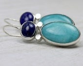 Turquoise Silver Earrings with Lapis Lazuli and Amazonite in Sterling Silver