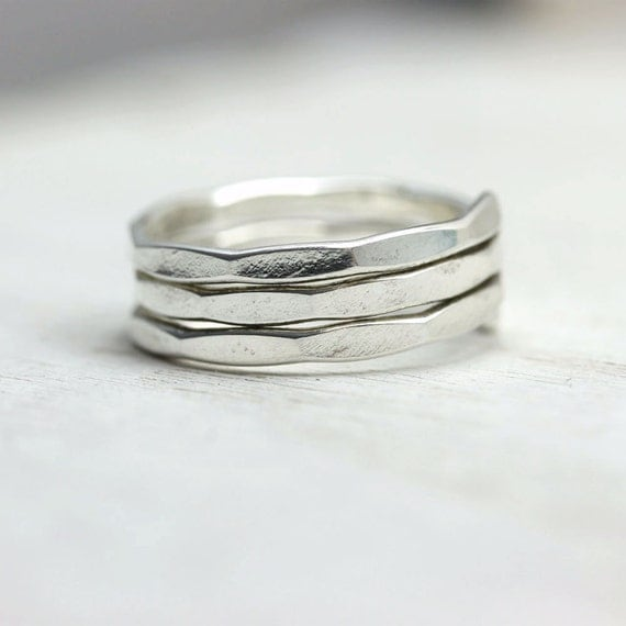 Coiled silver wrap ring, comfort ring for regular or mid-finger wear, hammered stacking ring