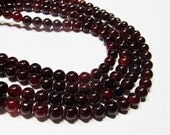 "7"" Gemstone STRAND - Jade Beads - 6mm Smooth Rounds - Deep Garnet Red (7"" strand - 31 beads) - str503"