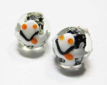 LOOSE BEADS - Lampwork Glass Art Beads - Glow In the Dark Black, White, Orange, and Clear Round Halloween Ghosts (2 beads) - gla848
