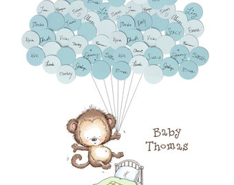 Baby Shower Guestbook- No More Monkeys Jumping on the Bed with Stripes