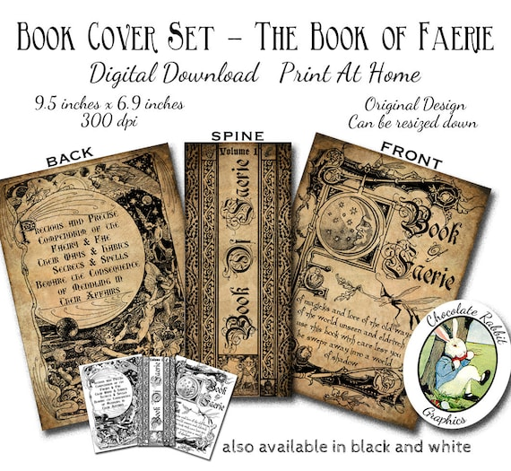 Book Cover Printable Uk : Witch fairy faerie spell book cover digital download halloween