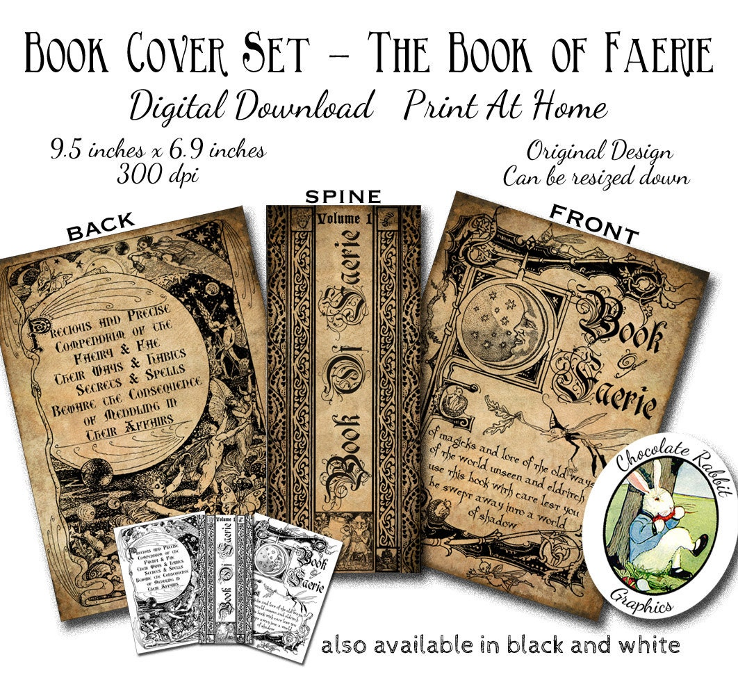 Book Cover Printable ~ Witch fairy faerie spell book cover digital download halloween