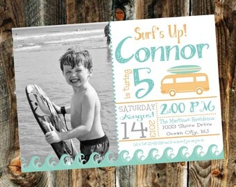 Vintage Surfer Boy Birthday Party Invitation - Print your own