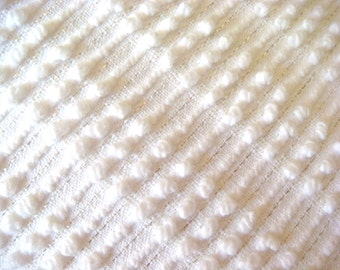 Morgan Jones White Pearls and Lurex Vintage Chenille Bedspread Fabric 18 x 24 Inches
