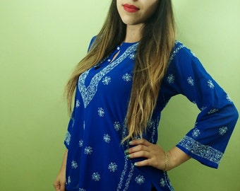 Vintage COBALT Blue Sheer Ethnic Blouse / See-Through Boho Shirt / Quarter Sleeves / Electric Blue Floral Top / Womens Large