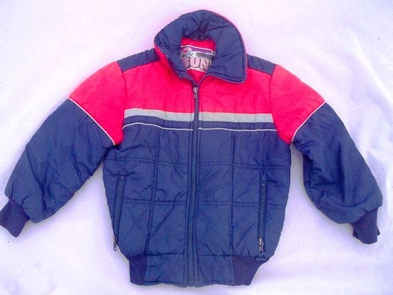 Vintage Boys Puffy Coat 1970s Red And Blue Winter Jacket