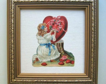 Valentines Day Decor Valentine Heart Die Cut 1890's Scrap