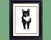 Tuxedo Cat  Print on Archival Matte Paper