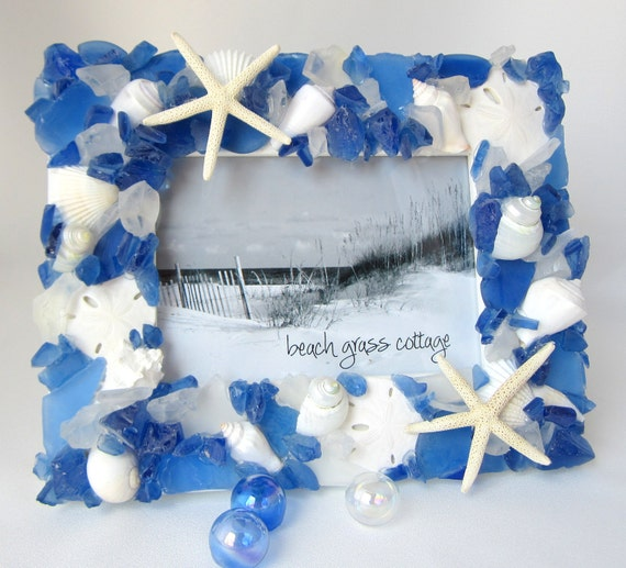 Beach Decor Sea Glass Picture Frame, Nautical Decor Beach Glass Photo Frame, Beach Glass Frame, Sea Glass Frame,  8x10 Dark Blue - #SGF810