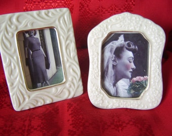Beautiful Vintage China Frames trimmed in gold accent Set of 2