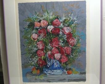 MONIQUE JOURNOD, Roses, Framed Art Print, Signed Numbered Ltd Edition, PP 4/12